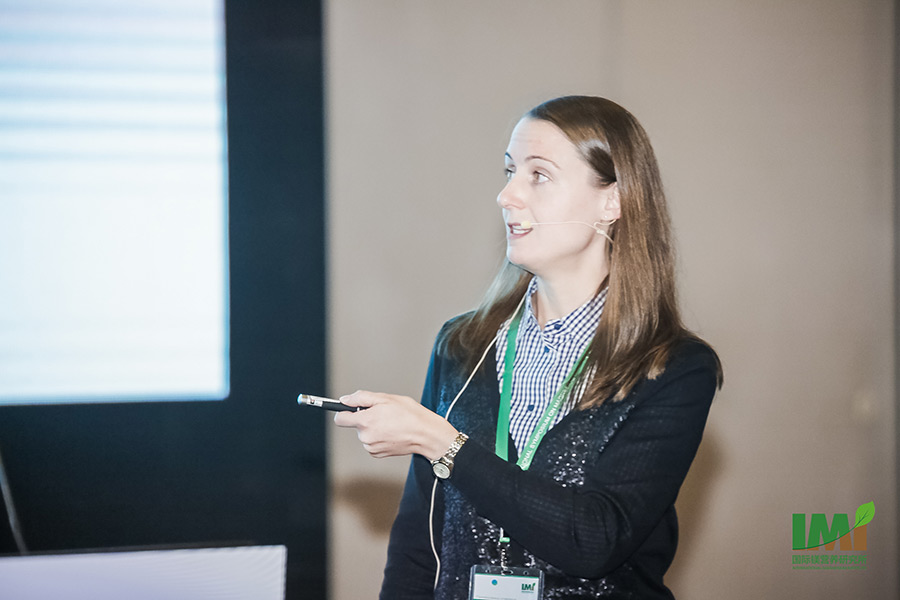 "Merle Tränkner, Junior-Professor at the IAPN in Göttingen, Germany, presenting research results in her keynote speech on ""Mg Nutrition and Photoprotection in Plants"". (Photo: IMI)"