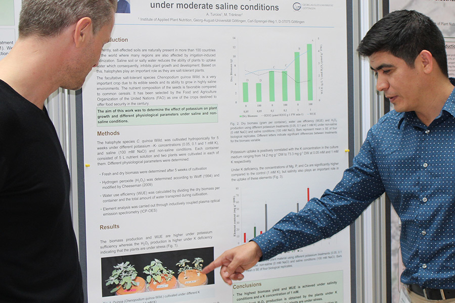 Knowledge exchange at the DGP conference 2019: Dr. Ariel Turcios explains how potassium affects the growth and physiology of the facultative halophyte Chenopodium quinoa Willd. (Photo: Tränkner)