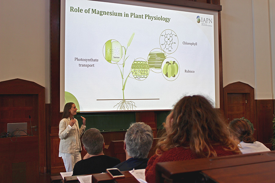 Junior Professor Dr. Merle Tränkner introduces results of a meta-analysis on scientific magnesium studies from 1950 bis 2018. (Photo: Jamali)
