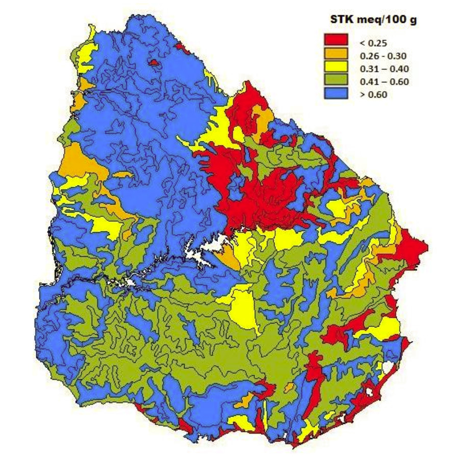 Based on the results of soil tests and on information of agronomists a map was developed showing the soil test K (STK; 0-20 cm) according to the soil recognition guide of Uruguay. Scale: 1:1,000,000. (Source: Califra and Barbazán, unpublished)